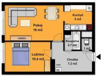 půdorys bytu (Prodej bytu 2+kk v osobním vlastnictví 43 m², Říčany)