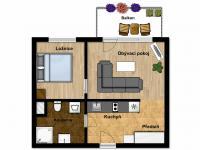 současný půdorys bytu (Prodej bytu 2+kk v osobním vlastnictví 41 m², Praha 9 - Hloubětín)