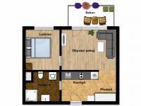 možnost uspořádání v obývacím pokoji (Prodej bytu 2+kk v osobním vlastnictví 41 m², Praha 9 - Hloubětín)