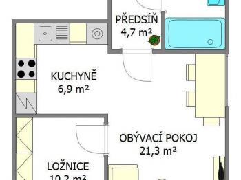 plánek bytu - Prodej bytu 1+1 v osobním vlastnictví 51 m², Praha 8 - Ďáblice