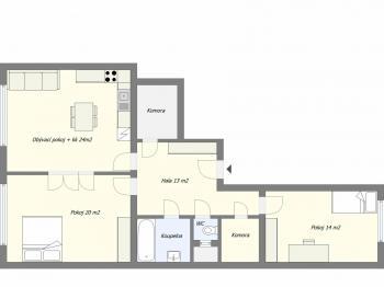 Orientační půdorys - Prodej bytu 3+kk v osobním vlastnictví 92 m², Praha 3 - Vinohrady