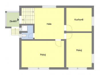 Orientační půdorys přízemí - Prodej domu v osobním vlastnictví 240 m², Praha 4 - Lhotka