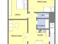 Orientační půdorys (Pronájem bytu 3+1 v družstevním vlastnictví 76 m², Praha 10 - Strašnice)