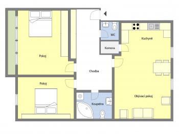 Orientační půdorys bytu - Prodej bytu 3+kk v osobním vlastnictví 95 m², Praha 10 - Strašnice