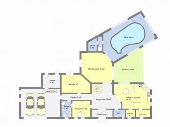 Orientační půdorys přízemí - Prodej domu v osobním vlastnictví 495 m², Říčany