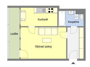 Stávající stav - orientační půdorys - Prodej bytu 2+kk v osobním vlastnictví 46 m², Praha 10 - Záběhlice