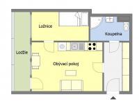 Návrh změny - orientační půdorys - Prodej bytu 2+kk v osobním vlastnictví 46 m², Praha 10 - Záběhlice