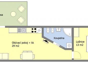 Půdorys - Pronájem bytu 2+kk v osobním vlastnictví 45 m², Praha 4 - Hodkovičky