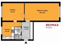 půdorys (Prodej bytu 2+1 v osobním vlastnictví 58 m², Praha 4 - Krč)