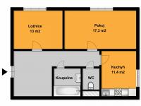 Plánek bytu (Prodej bytu 2+1 v družstevním vlastnictví 53 m², Praha 4 - Krč)