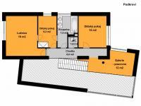 Půdorys podkroví - Prodej domu v osobním vlastnictví 185 m², Praha 9 - Kbely
