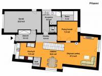 Půdorys přízemí - Prodej domu v osobním vlastnictví 185 m², Praha 9 - Kbely