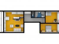 Půdorys 3D - Prodej bytu 3+1 v osobním vlastnictví 80 m², Praha 10 - Horní Měcholupy