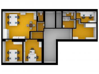 Pudorys 2D - Pronájem kancelářských prostor 115 m², Praha 4 - Krč