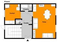 Půdorys přízemí - Prodej domu v osobním vlastnictví 103 m², Jablonec nad Jizerou