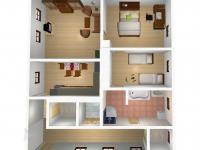 Podkroví - půdorys 3D (Prodej domu v osobním vlastnictví 333 m², Kašperské Hory)