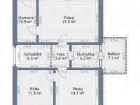 půdorys - podkroví - 2D (Prodej domu v osobním vlastnictví 136 m², Měňany)