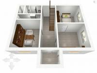 půdorys - přízemí - 3D (Prodej domu v osobním vlastnictví 136 m², Měňany)