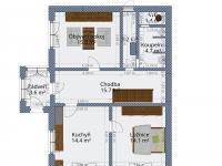 půdorys - přízemí - 2D (Prodej domu v osobním vlastnictví 136 m², Měňany)