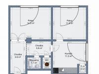 Půdorys - 2D - Prodej bytu 2+1 v osobním vlastnictví 51 m², Pardubice