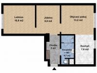 2D půdorys (Prodej bytu 2+1 v osobním vlastnictví 59 m², Náměšť nad Oslavou)