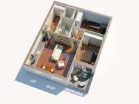 3D půdorys 2 (Prodej bytu 3+kk v družstevním vlastnictví 76 m², Praha 9 - Hloubětín)