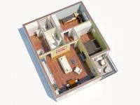 3D půdorys 1 (Prodej bytu 3+kk v družstevním vlastnictví 76 m², Praha 9 - Hloubětín)