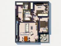 Půdorys s popisky místností (Prodej bytu 3+kk v družstevním vlastnictví 76 m², Praha 9 - Hloubětín)