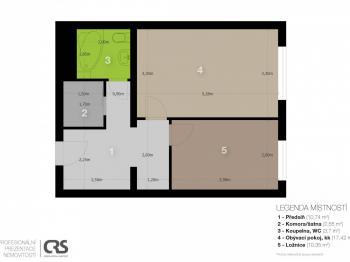 2D - Prodej bytu 2+kk v osobním vlastnictví 48 m², Praha 9 - Hloubětín