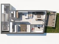 3D půdorys atypicky řešeného bytu 2+kk (Prodej bytu 2+kk v osobním vlastnictví 107 m², Praha 9 - Hrdlořezy)