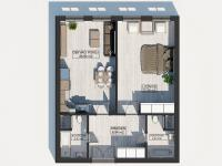 Půdorys s rozměry (Prodej bytu 2+kk v osobním vlastnictví 67 m², Praha 8 - Karlín)