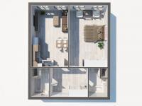 Půdorys bytu (Prodej bytu 2+kk v osobním vlastnictví 67 m², Praha 8 - Karlín)