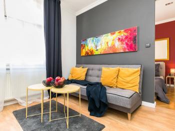 obývací pokoj - Prodej bytu 2+kk v osobním vlastnictví 50 m², Praha 3 - Žižkov