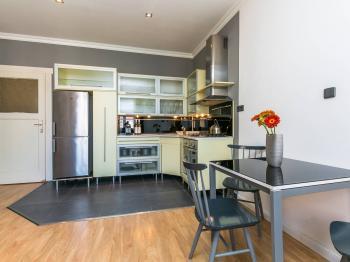 obývací pokoj s kuchyňským koutem - Prodej bytu 2+kk v osobním vlastnictví 50 m², Praha 3 - Žižkov