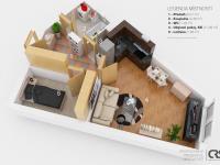 3D půdorys - Prodej bytu 2+kk v osobním vlastnictví 43 m², Praha 5 - Motol