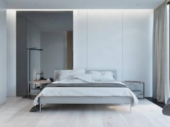 Moderní minimalisticky řešená ložnice - Prodej domu v osobním vlastnictví 120 m², Vysoký Újezd