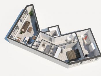 Půdorys bytu - Pronájem bytu 3+kk v osobním vlastnictví 85 m², Praha 5 - Smíchov