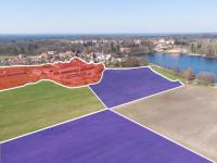 červená - stavební, modrá - pole, louky - Prodej pozemku 154383 m², Chlum u Třeboně