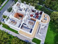 3d půdorys prvního patra - Pronájem domu v osobním vlastnictví 550 m², Praha 10 - Vršovice