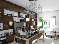 Vizualizace zařízené kanceláře pro ředitele - Pronájem domu v osobním vlastnictví 550 m², Praha 10 - Vršovice