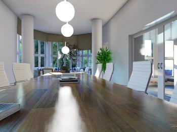 Vizualizace reprezentativního prostoru v přízemí - Pronájem komerčního objektu 550 m², Praha 10 - Vršovice