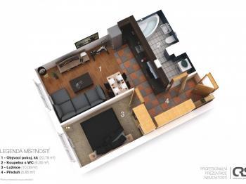 půdorys bytu - Prodej bytu 2+kk v osobním vlastnictví 44 m², Praha 5 - Zbraslav