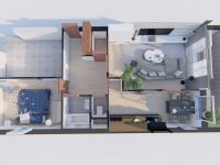 3D půdorys již s novými návrhy vybavení - Prodej bytu 2+1 v osobním vlastnictví 61 m², Praha 9 - Vysočany