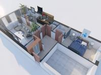 3D půdorys s novými návrhy vybavení - Prodej bytu 2+1 v osobním vlastnictví 61 m², Praha 9 - Vysočany