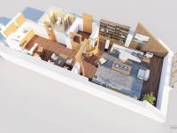 3D půdorys vizualizovaného bytu - Prodej bytu 1+1 v osobním vlastnictví 59 m², Zábřeh