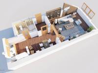 3D půdorys  - Prodej bytu 1+1 v osobním vlastnictví 59 m², Zábřeh