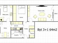 Půdorys - Prodej bytu 2+1 v družstevním vlastnictví 64 m², Litvínov