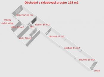 půdorys ... - Pronájem obchodních prostor 125 m², Havlíčkův Brod