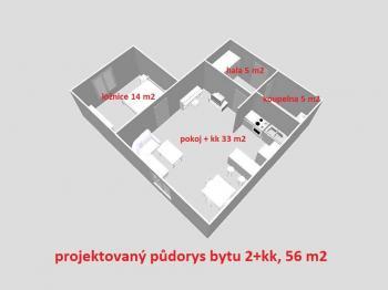 možná dispozice bytu ... - Prodej bytu 2+kk v osobním vlastnictví 56 m², Havlíčkův Brod