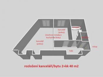 rozložení bytu ... - Pronájem bytu 2+kk v osobním vlastnictví 55 m², Havlíčkův Brod